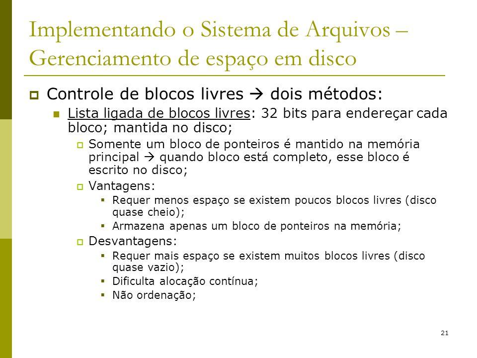 21 Implementando o Sistema de Arquivos – Gerenciamento de espaço em disco Controle de blocos livres dois métodos: Lista ligada de blocos livres: 32 bi