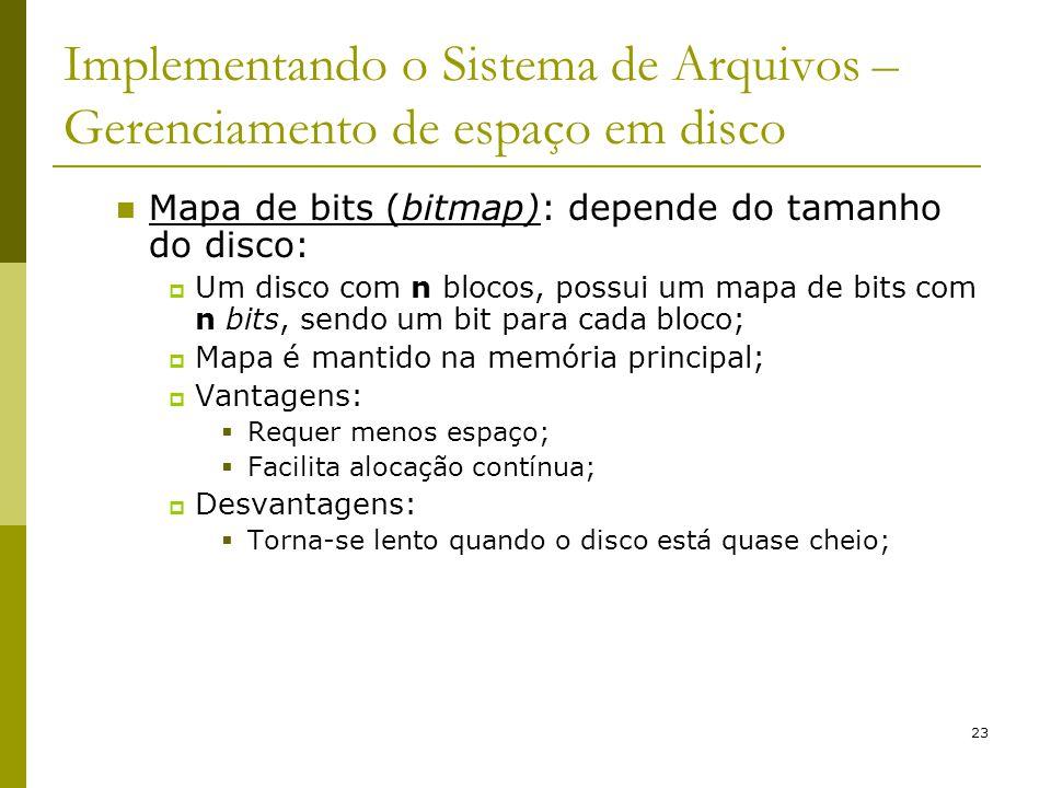 23 Implementando o Sistema de Arquivos – Gerenciamento de espaço em disco Mapa de bits (bitmap): depende do tamanho do disco: Um disco com n blocos, p