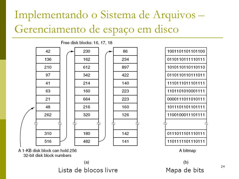 24 Implementando o Sistema de Arquivos – Gerenciamento de espaço em disco Lista de blocos livreMapa de bits