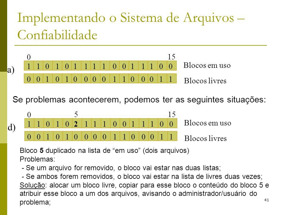41 Implementando o Sistema de Arquivos – Confiabilidade a) 1101010111111000 0010101000000111 Blocos em uso Blocos livres 0 15 Se problemas acontecerem