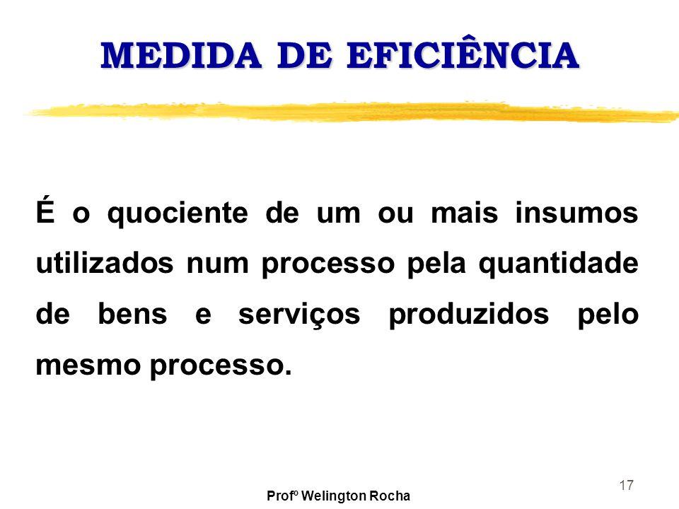 17 MEDIDA DE EFICIÊNCIA É o quociente de um ou mais insumos utilizados num processo pela quantidade de bens e serviços produzidos pelo mesmo processo.