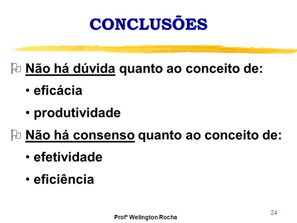 24 CONCLUSÕES O Não há dúvida quanto ao conceito de: eficácia produtividade O Não há consenso quanto ao conceito de: efetividade eficiência Profº Weli