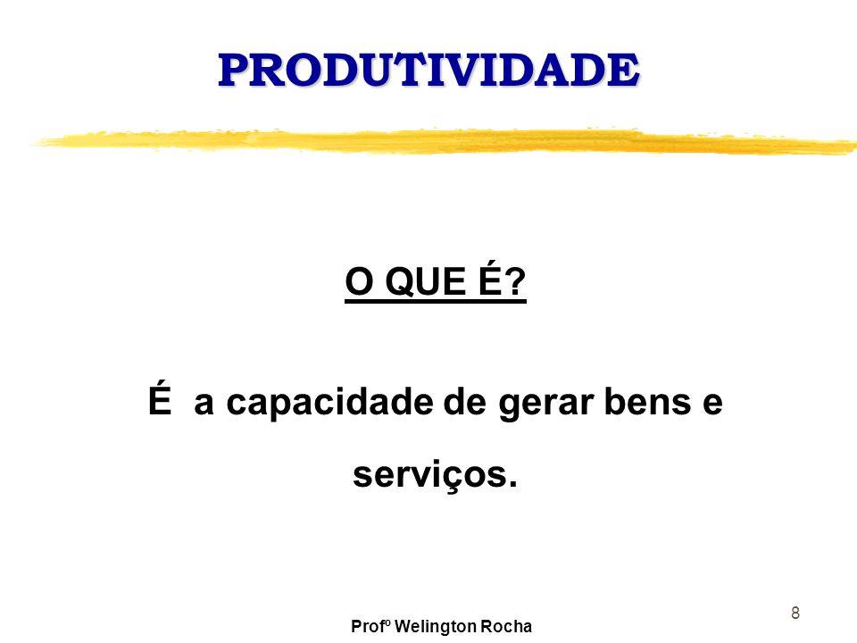 8 PRODUTIVIDADE O QUE É? É a capacidade de gerar bens e serviços. Profº Welington Rocha