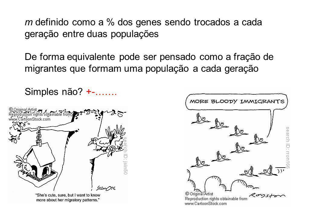 m definido como a % dos genes sendo trocados a cada geração entre duas populações De forma equivalente pode ser pensado como a fração de migrantes que formam uma população a cada geração Simples não.