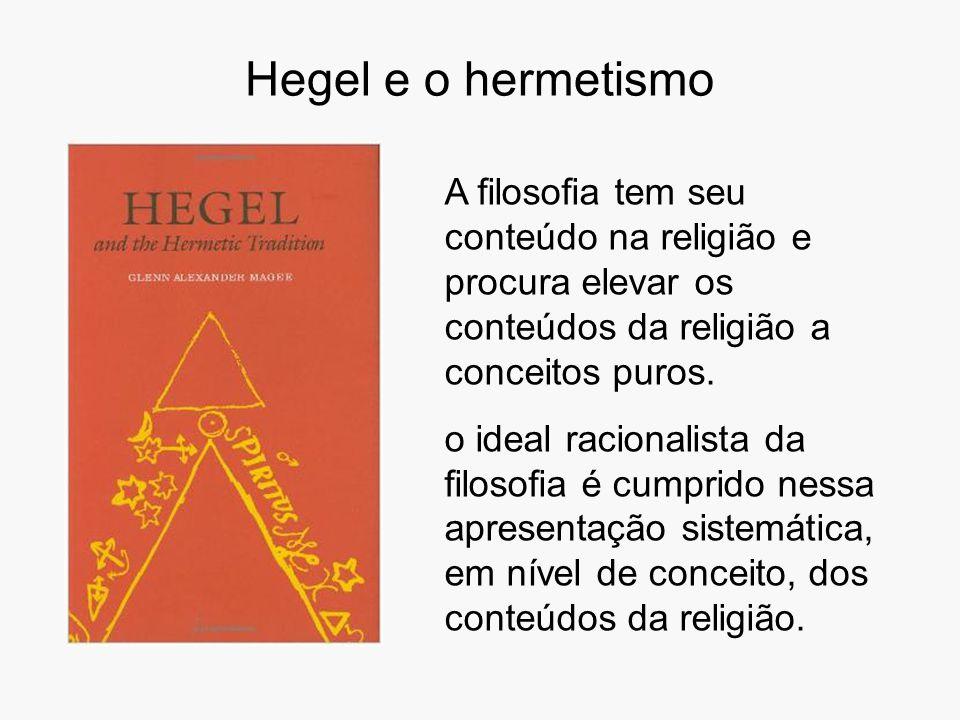Hegel e o hermetismo A filosofia tem seu conteúdo na religião e procura elevar os conteúdos da religião a conceitos puros. o ideal racionalista da fil