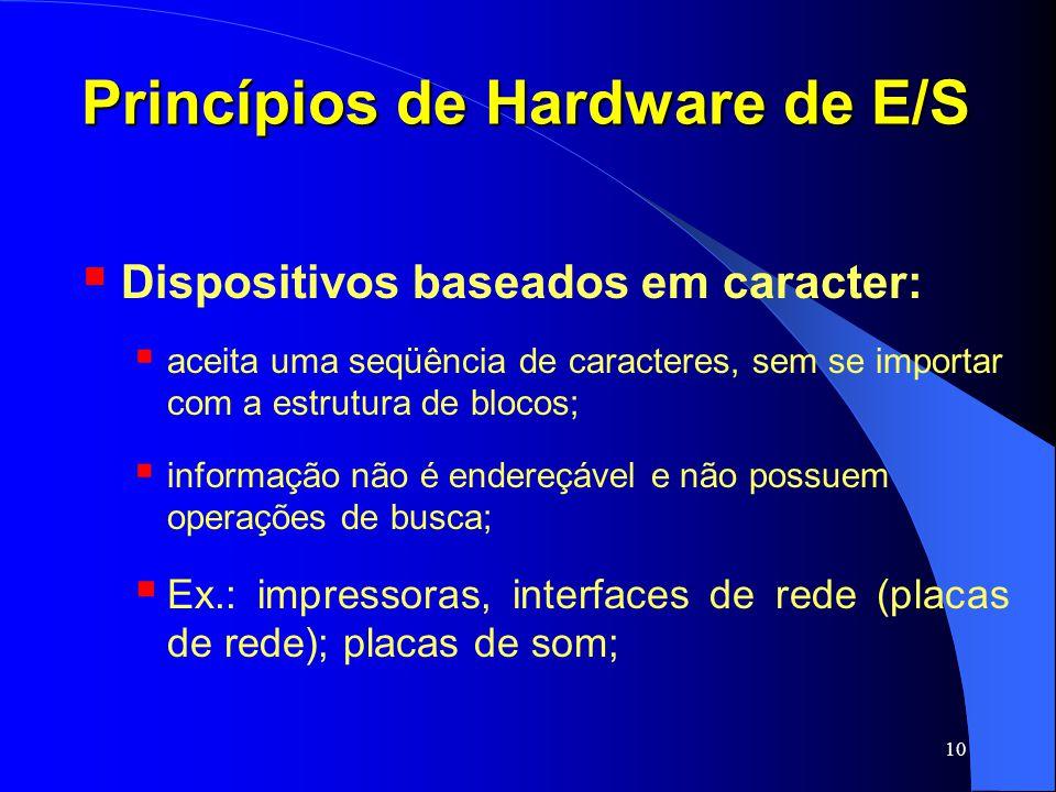 10 Princípios de Hardware de E/S Dispositivos baseados em caracter: aceita uma seqüência de caracteres, sem se importar com a estrutura de blocos; inf