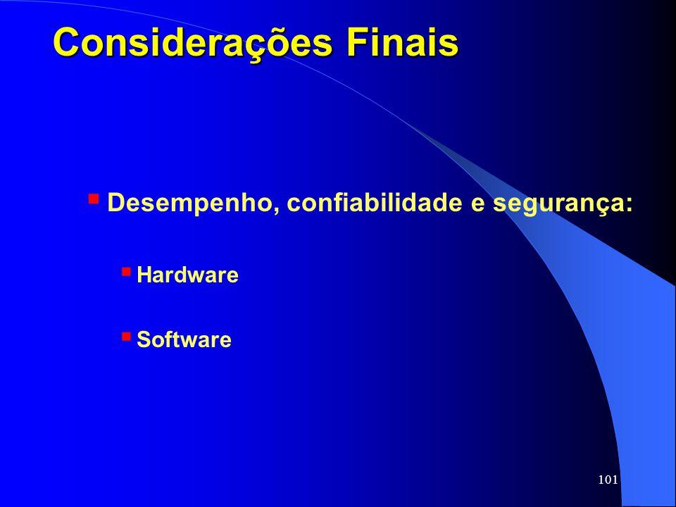 101 Considerações Finais Desempenho, confiabilidade e segurança: Hardware Software