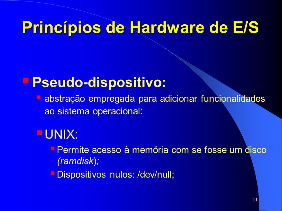 11 Princípios de Hardware de E/S Pseudo-dispositivo: abstração empregada para adicionar funcionalidades ao sistema operacional : UNIX: Permite acesso
