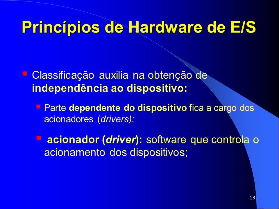 13 Princípios de Hardware de E/S Classificação auxilia na obtenção de independência ao dispositivo: Parte dependente do dispositivo fica a cargo dos a