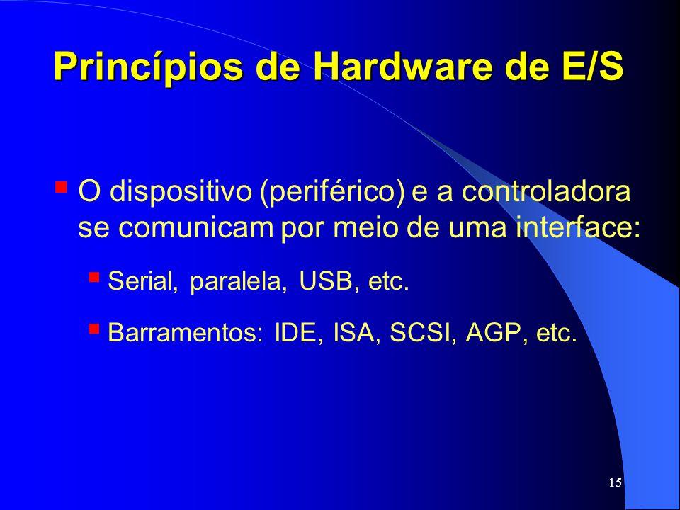 15 Princípios de Hardware de E/S O dispositivo (periférico) e a controladora se comunicam por meio de uma interface: Serial, paralela, USB, etc. Barra