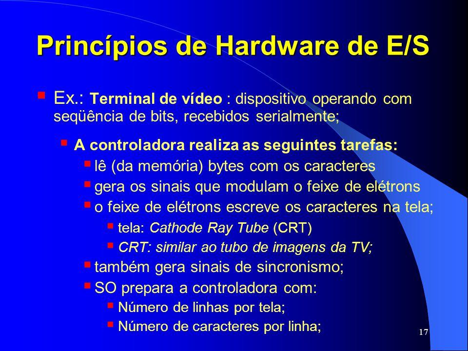 17 Princípios de Hardware de E/S Ex.: Terminal de vídeo : dispositivo operando com seqüência de bits, recebidos serialmente; A controladora realiza as