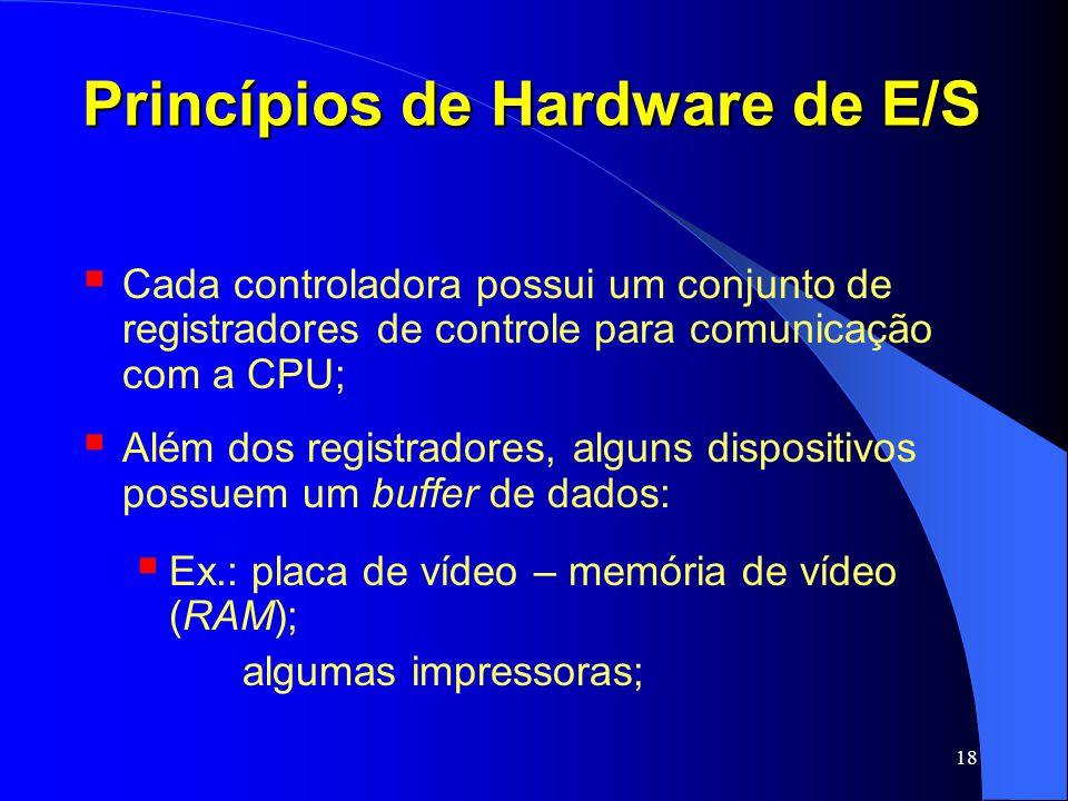 18 Princípios de Hardware de E/S Cada controladora possui um conjunto de registradores de controle para comunicação com a CPU; Além dos registradores,