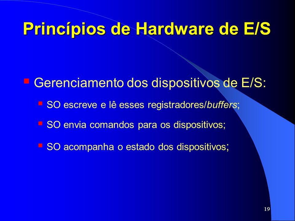 19 Princípios de Hardware de E/S Gerenciamento dos dispositivos de E/S: SO escreve e lê esses registradores/buffers; SO envia comandos para os disposi
