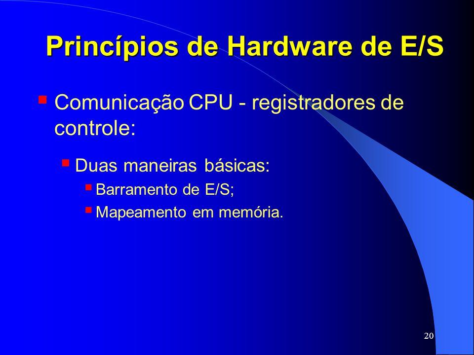 20 Princípios de Hardware de E/S Comunicação CPU - registradores de controle: Duas maneiras básicas: Barramento de E/S; Mapeamento em memória.