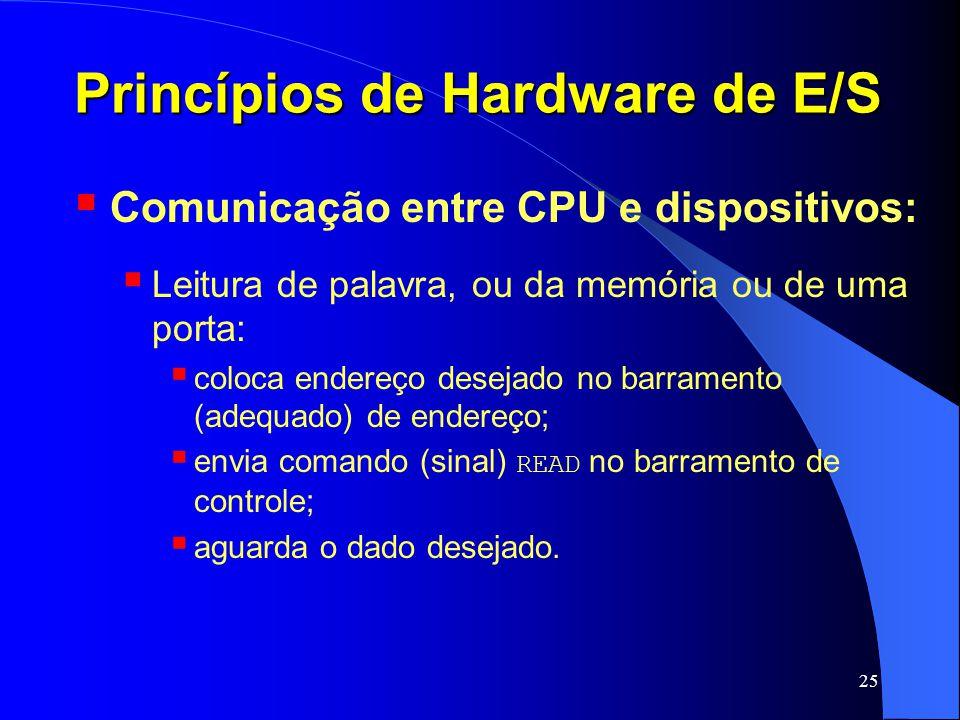 25 Princípios de Hardware de E/S Comunicação entre CPU e dispositivos: Leitura de palavra, ou da memória ou de uma porta: coloca endereço desejado no