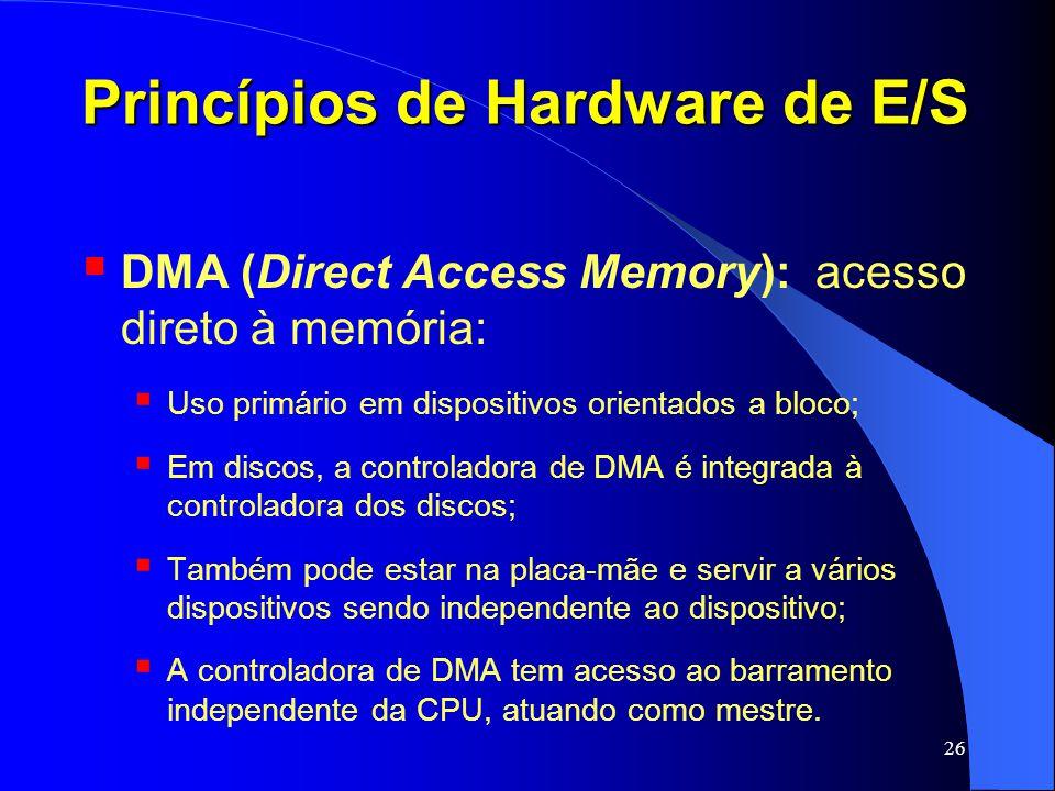 26 Princípios de Hardware de E/S DMA (Direct Access Memory): acesso direto à memória: Uso primário em dispositivos orientados a bloco; Em discos, a co