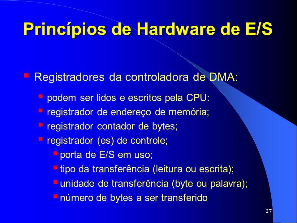 27 Princípios de Hardware de E/S Registradores da controladora de DMA: podem ser lidos e escritos pela CPU: registrador de endereço de memória; regist