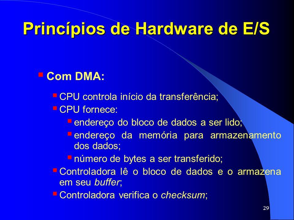 29 Princípios de Hardware de E/S Com DMA: CPU controla início da transferência; CPU fornece: endereço do bloco de dados a ser lido; endereço da memóri