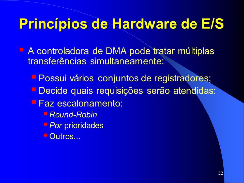 32 Princípios de Hardware de E/S A controladora de DMA pode tratar múltiplas transferências simultaneamente: Possui vários conjuntos de registradores;