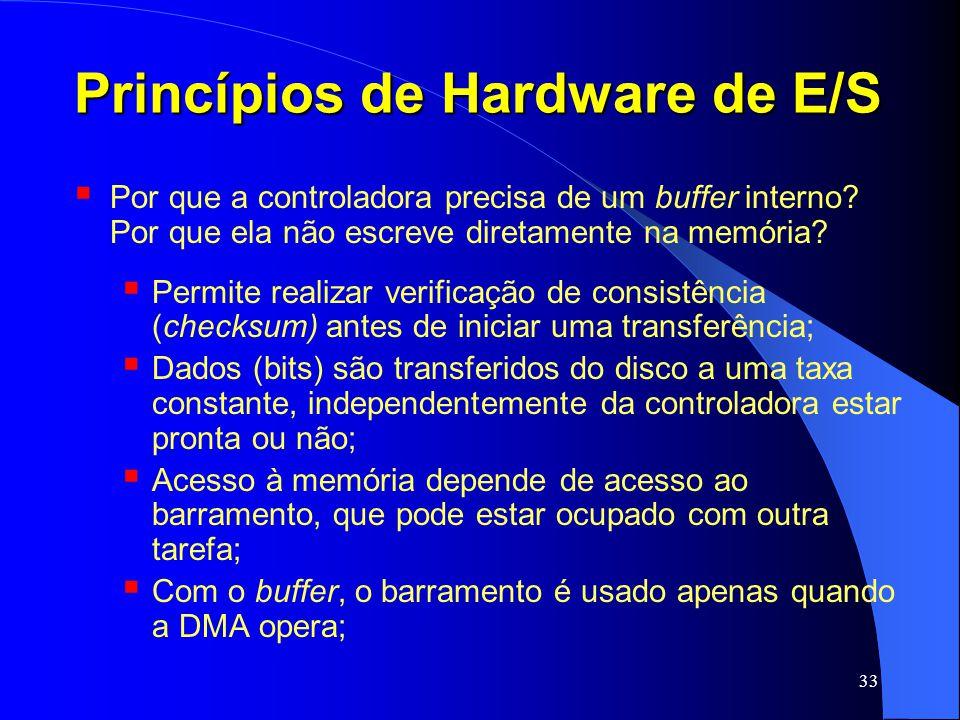 33 Princípios de Hardware de E/S Por que a controladora precisa de um buffer interno? Por que ela não escreve diretamente na memória? Permite realizar