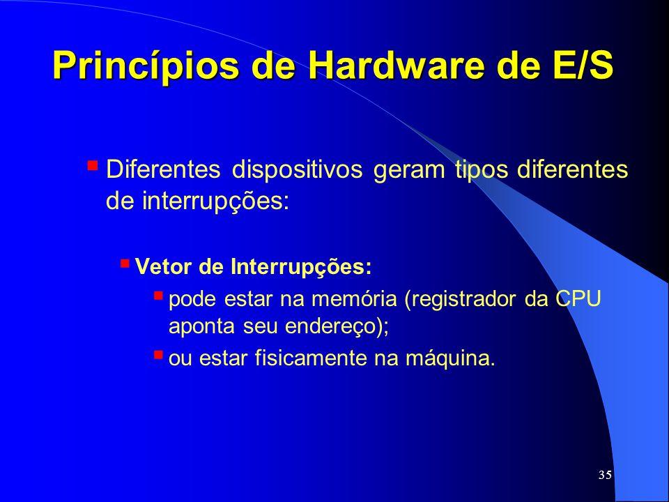 35 Princípios de Hardware de E/S Diferentes dispositivos geram tipos diferentes de interrupções: Vetor de Interrupções: pode estar na memória (registr