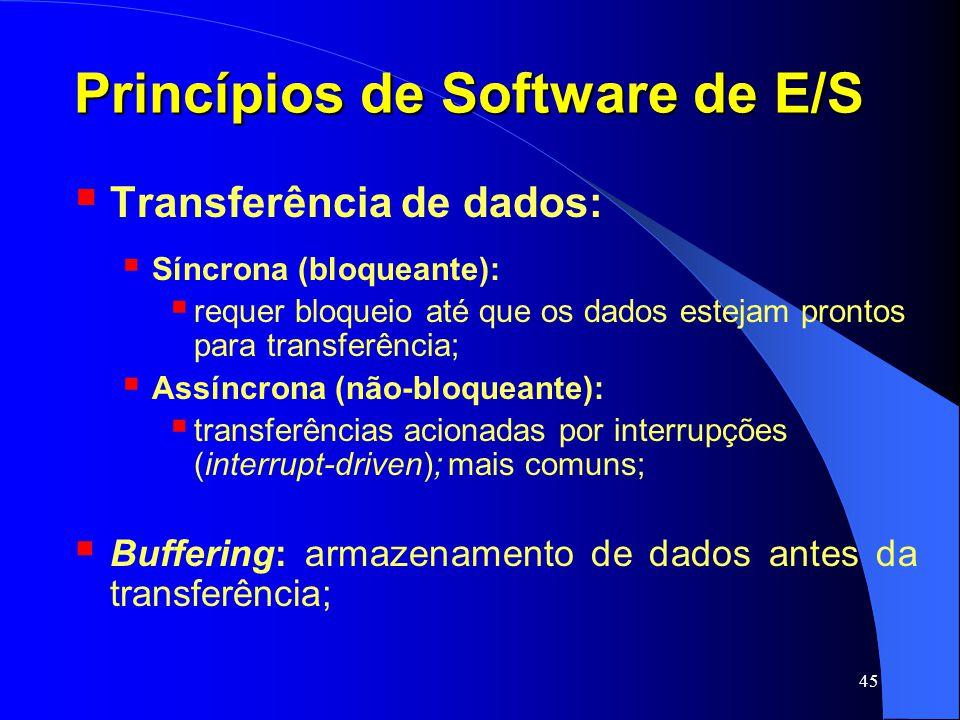 45 Princípios de Software de E/S Transferência de dados: Síncrona (bloqueante): requer bloqueio até que os dados estejam prontos para transferência; A