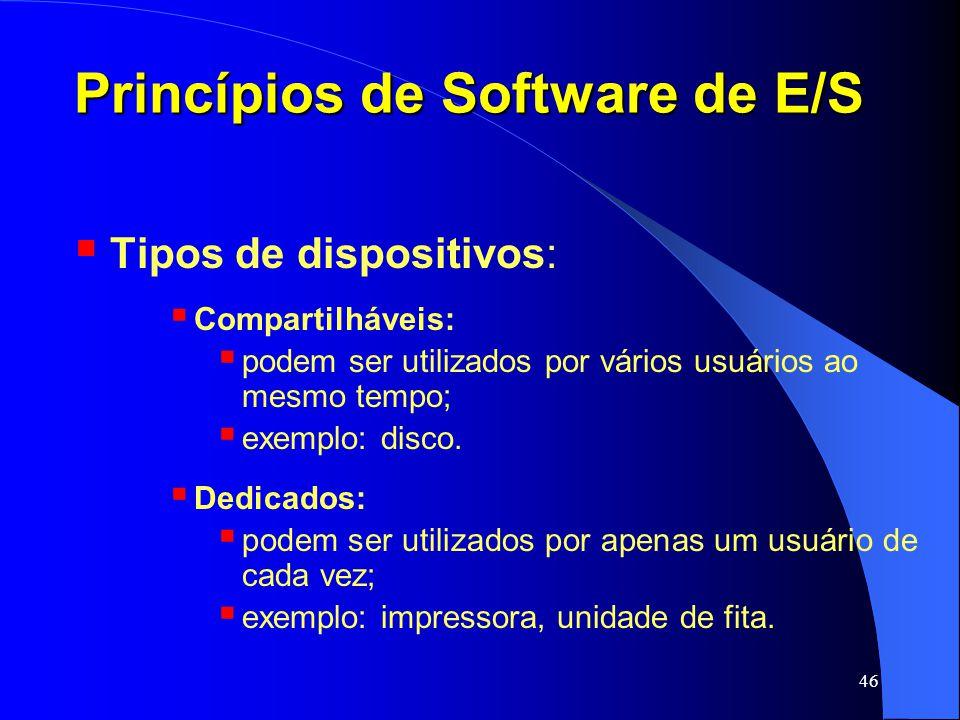 46 Princípios de Software de E/S Tipos de dispositivos: Compartilháveis: podem ser utilizados por vários usuários ao mesmo tempo; exemplo: disco. Dedi