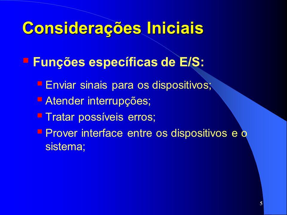 5 Considerações Iniciais Funções específicas de E/S: Enviar sinais para os dispositivos; Atender interrupções; Tratar possíveis erros; Prover interfac