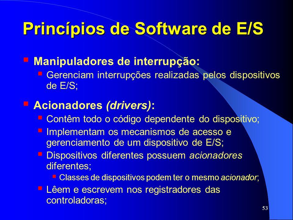 53 Princípios de Software de E/S Manipuladores de interrupção: Gerenciam interrupções realizadas pelos dispositivos de E/S; Acionadores (drivers): Con