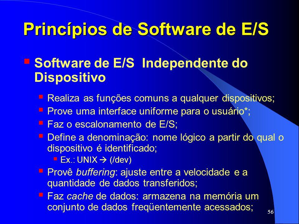 56 Princípios de Software de E/S Software de E/S Independente do Dispositivo Realiza as funções comuns a qualquer dispositivos; Prove uma interface un
