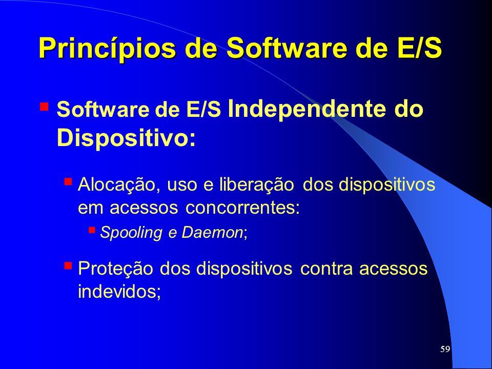 59 Princípios de Software de E/S Software de E/S Independente do Dispositivo: Alocação, uso e liberação dos dispositivos em acessos concorrentes: Spoo