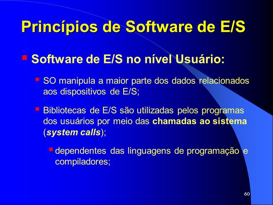 60 Princípios de Software de E/S Software de E/S no nível Usuário: SO manipula a maior parte dos dados relacionados aos dispositivos de E/S; Bibliotec