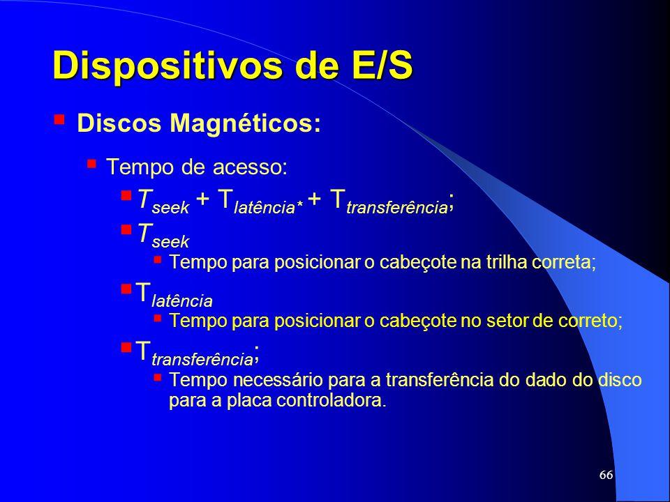 66 Dispositivos de E/S Discos Magnéticos: Tempo de acesso: T seek + T latência* + T transferência ; T seek Tempo para posicionar o cabeçote na trilha