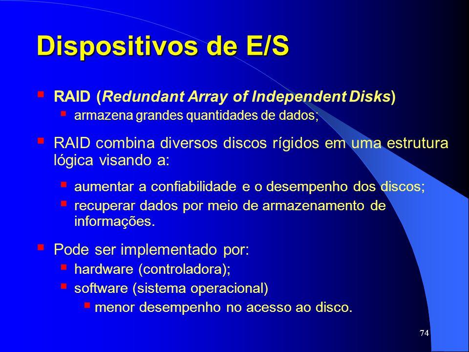 74 Dispositivos de E/S RAID (Redundant Array of Independent Disks) armazena grandes quantidades de dados; RAID combina diversos discos rígidos em uma