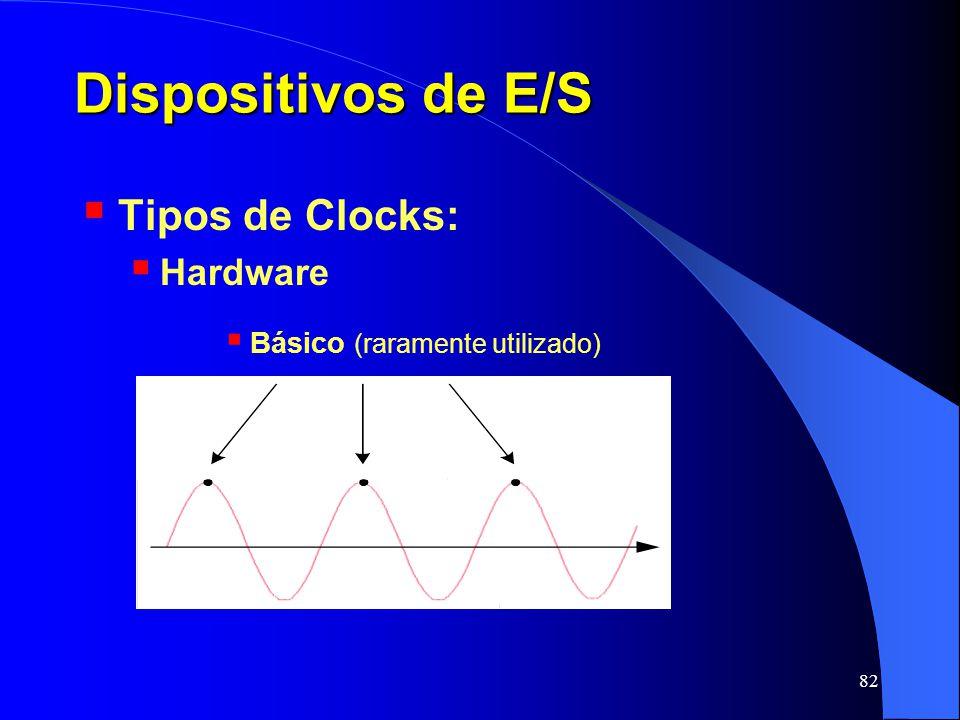 82 Dispositivos de E/S Tipos de Clocks: Hardware Básico (raramente utilizado)