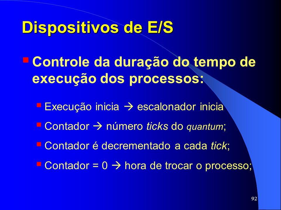 92 Dispositivos de E/S Controle da duração do tempo de execução dos processos: Execução inicia escalonador inicia Contador número ticks do quantum ; C