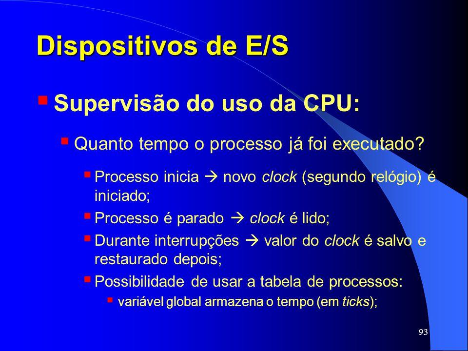 93 Dispositivos de E/S Supervisão do uso da CPU: Quanto tempo o processo já foi executado? Processo inicia novo clock (segundo relógio) é iniciado; Pr