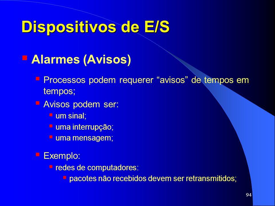 94 Dispositivos de E/S Alarmes (Avisos) Processos podem requerer avisos de tempos em tempos; Avisos podem ser: um sinal; uma interrupção; uma mensagem