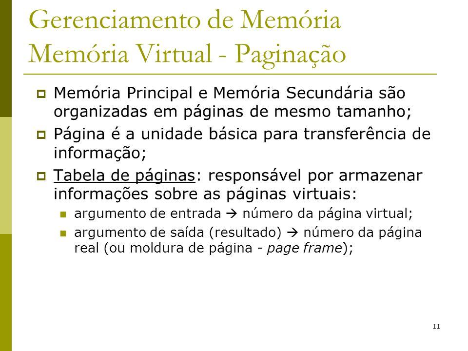 11 Gerenciamento de Memória Memória Virtual - Paginação Memória Principal e Memória Secundária são organizadas em páginas de mesmo tamanho; Página é a