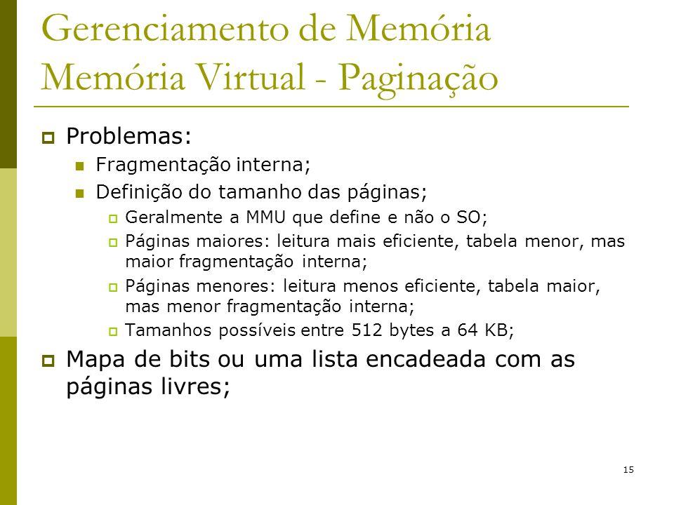 15 Gerenciamento de Memória Memória Virtual - Paginação Problemas: Fragmentação interna; Definição do tamanho das páginas; Geralmente a MMU que define