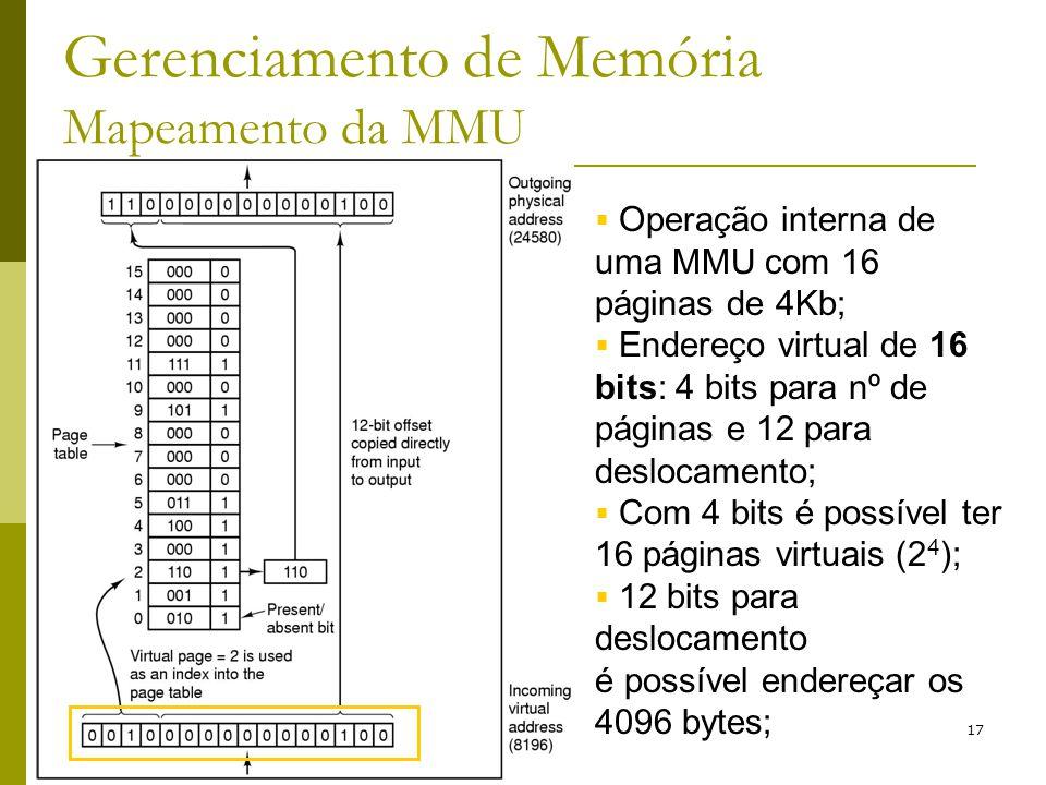 17 Gerenciamento de Memória Mapeamento da MMU Operação interna de uma MMU com 16 páginas de 4Kb; Endereço virtual de 16 bits: 4 bits para nº de página