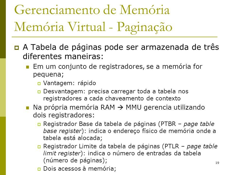 19 Gerenciamento de Memória Memória Virtual - Paginação A Tabela de páginas pode ser armazenada de três diferentes maneiras: Em um conjunto de registr