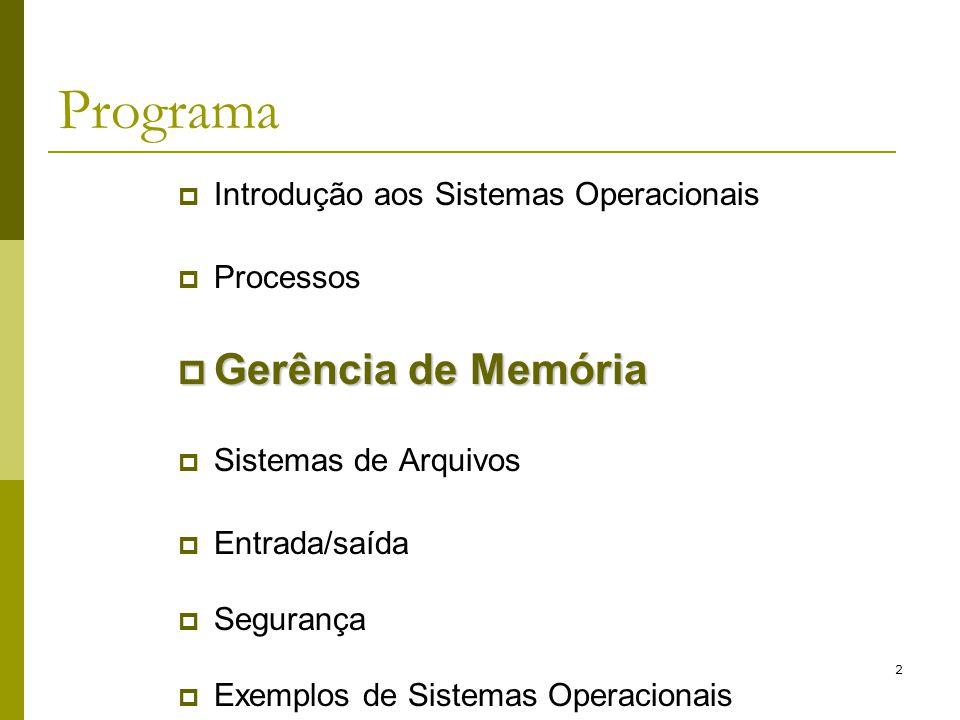 2 Programa Introdução aos Sistemas Operacionais Processos Gerência de Memória Gerência de Memória Sistemas de Arquivos Entrada/saída Segurança Exemplo