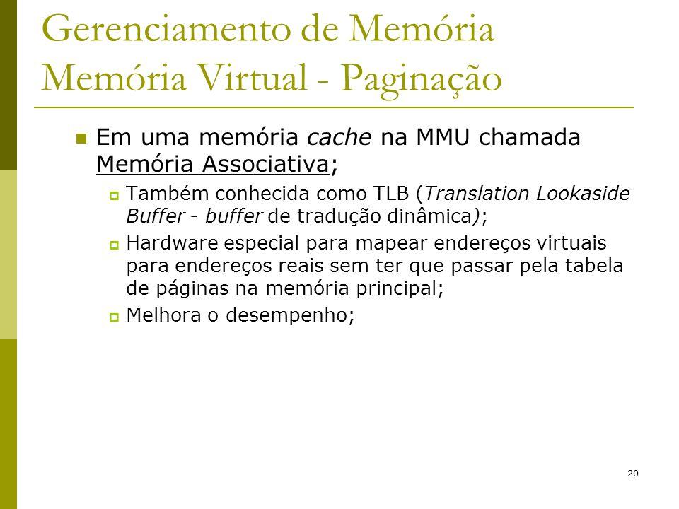 20 Gerenciamento de Memória Memória Virtual - Paginação Em uma memória cache na MMU chamada Memória Associativa; Também conhecida como TLB (Translatio
