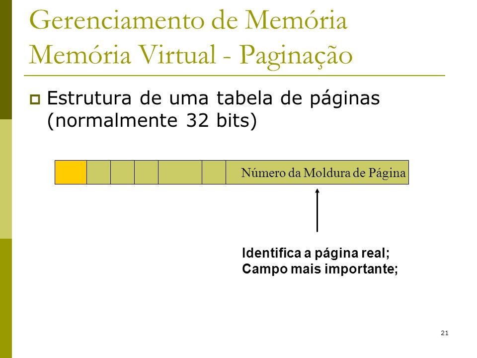 21 Gerenciamento de Memória Memória Virtual - Paginação Estrutura de uma tabela de páginas (normalmente 32 bits) Identifica a página real; Campo mais