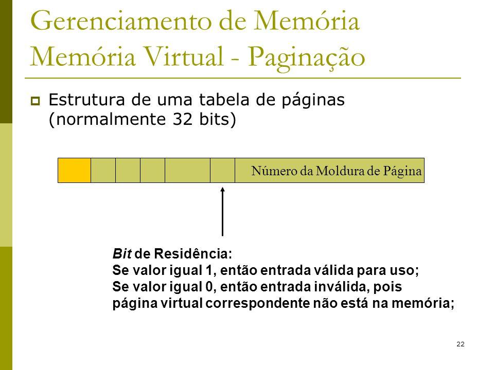 22 Gerenciamento de Memória Memória Virtual - Paginação Bit de Residência: Se valor igual 1, então entrada válida para uso; Se valor igual 0, então en