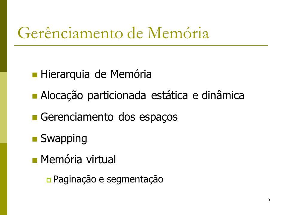 3 Gerênciamento de Memória Hierarquia de Memória Alocação particionada estática e dinâmica Gerenciamento dos espaços Swapping Memória virtual Paginaçã