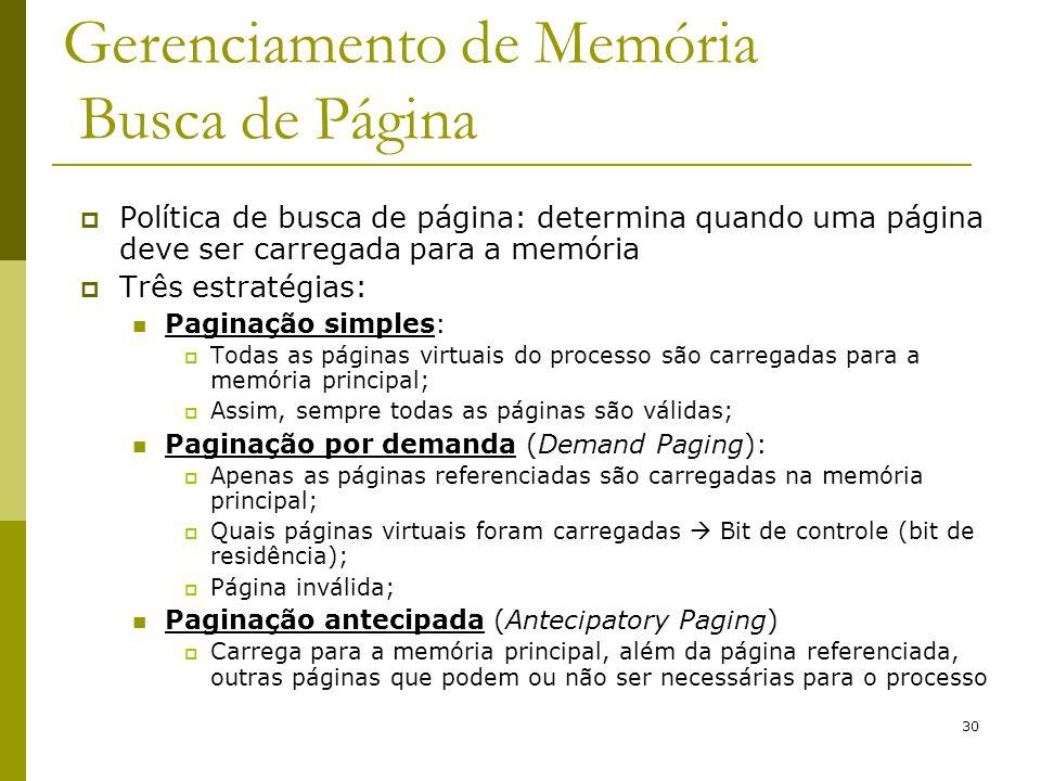 30 Gerenciamento de Memória Busca de Página Política de busca de página: determina quando uma página deve ser carregada para a memória Três estratégia