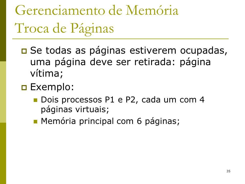 35 Gerenciamento de Memória Troca de Páginas Se todas as páginas estiverem ocupadas, uma página deve ser retirada: página vítima; Exemplo: Dois proces