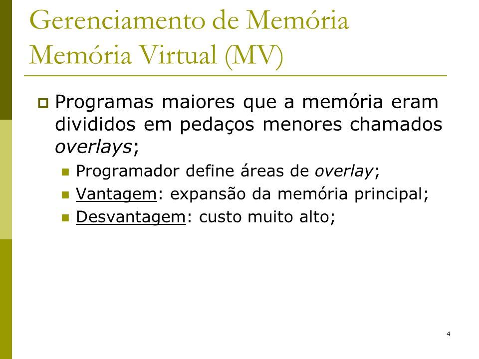 4 Gerenciamento de Memória Memória Virtual (MV) Programas maiores que a memória eram divididos em pedaços menores chamados overlays; Programador defin
